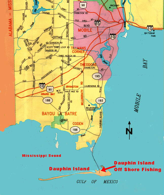 on dauphin island map